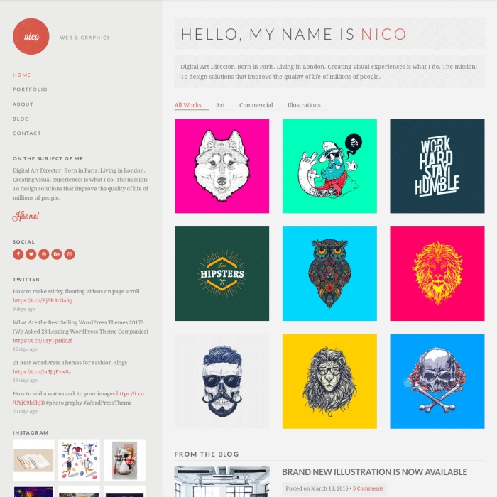 Szablon Nico Portfolio WordPress Theme
