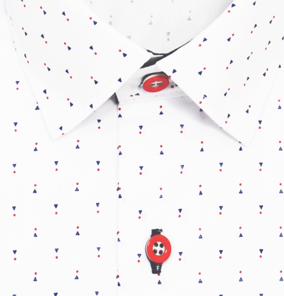 Koszula chłopięca BIAŁA wzory LORENTO 152158 SLIM  9De4R