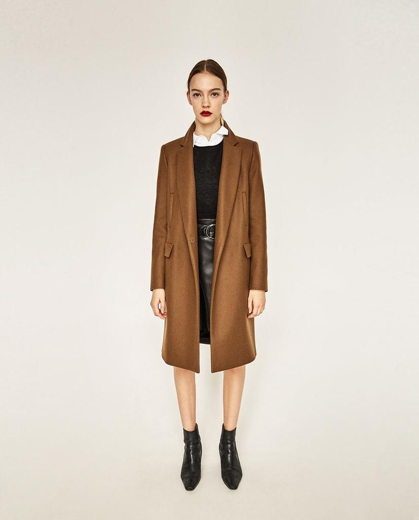 brązowy płaszcz wełniany zara