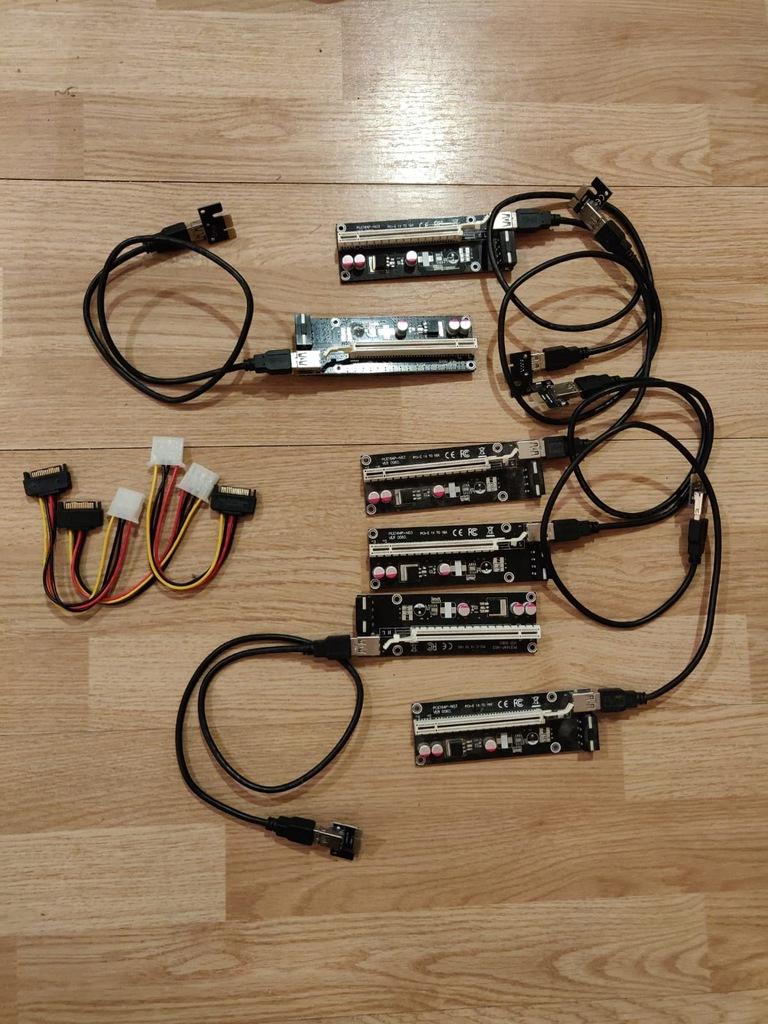 6 sztuk Riser PCI-E 1x-16x USB 3.0