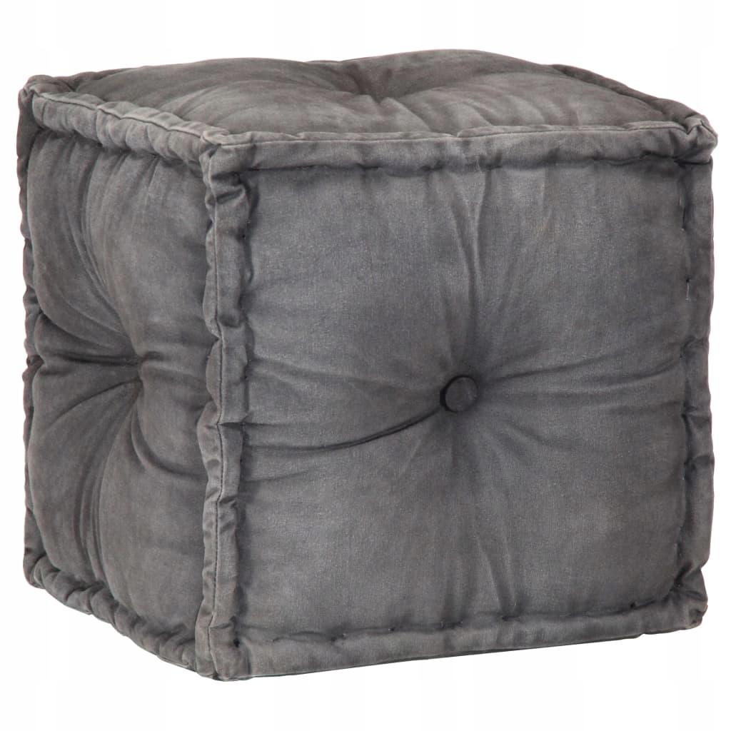 Puf, 40x40x40 cm, antracytowy, płótno bawełniane