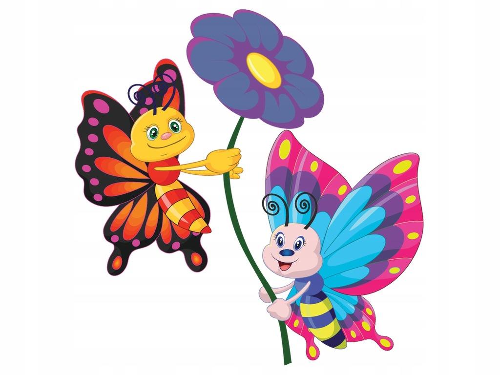 Naklejka Różne Wzory 10x10cm Dwa motylki