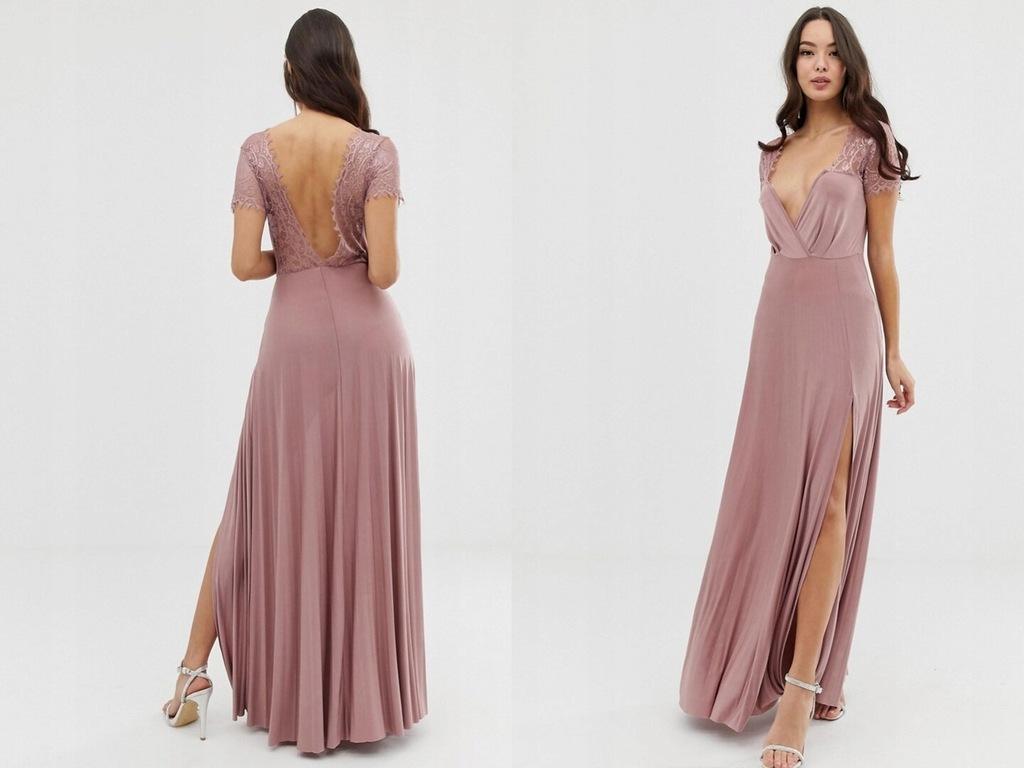 Plisowana długa sukienka z koronką S/36