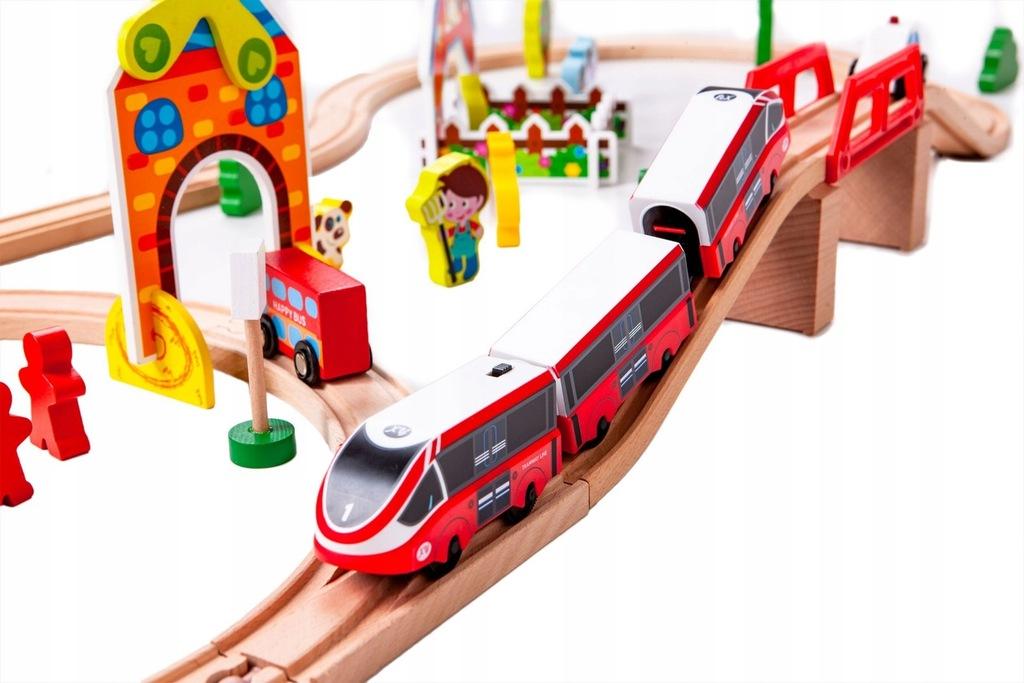 Kolejka pociąg EKO DREWNO na baterie 53el. PREZENT