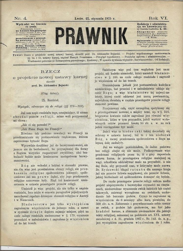 PRAWNIK 1875 Sądownictwo Lwów Zasań Dobczyce