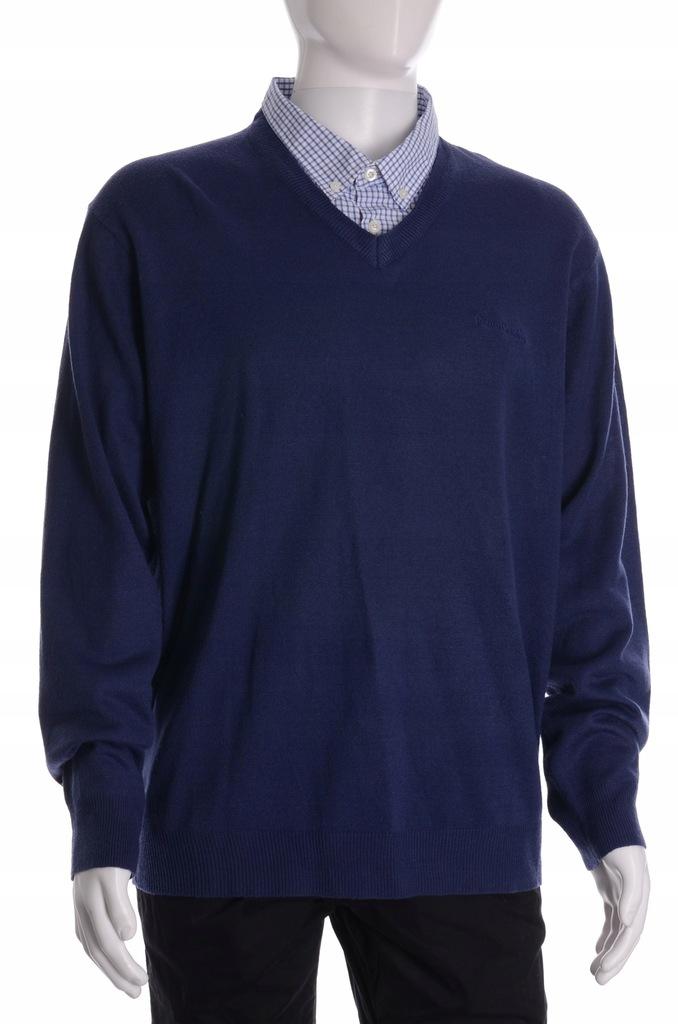 PIERRE CARDIN granatowy sweter z kołnierzykiem XXL
