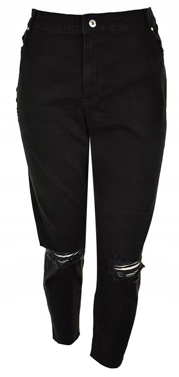 pBH7551 H&M czarne modne jeansy z dziurami 50