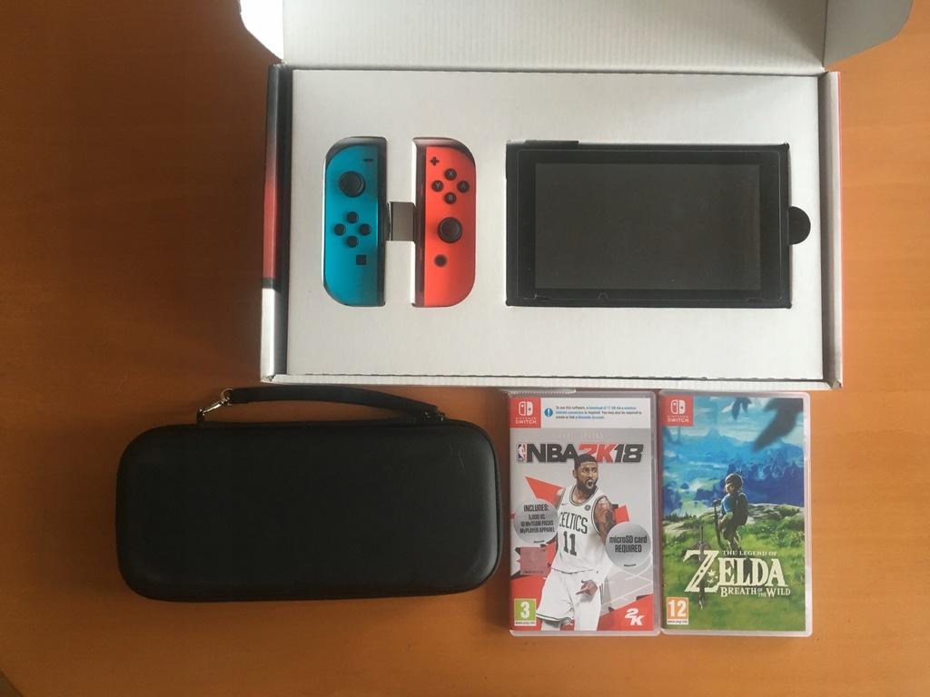 Nintendo Switch 32GB + Zelda + NBA + Case - Wwa