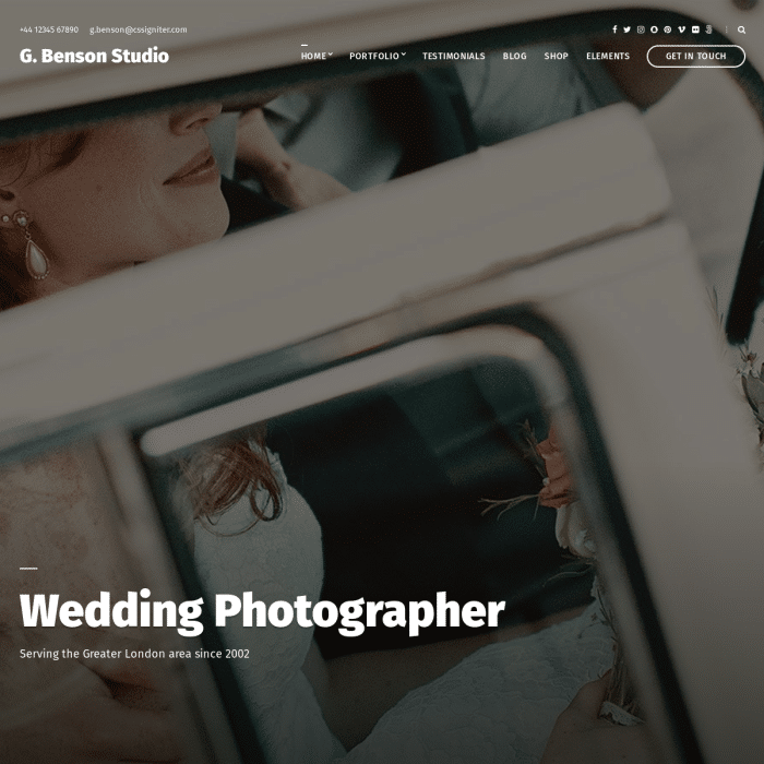 Szablon Benson Photography WordPress Theme