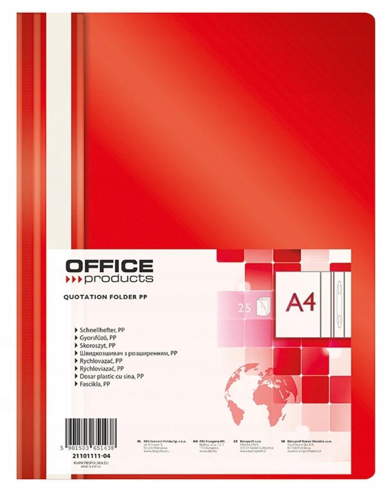 Skoroszyt OFFICE PRODUCTS A4 100/170mikr. czerwon