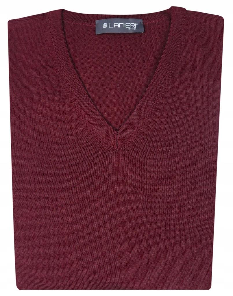 Bordowy klasyczny sweter męski w szpic SW2 3XL
