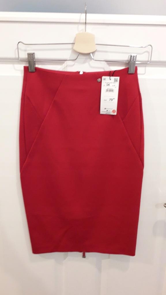 ołówkowa seksowna spódnica RESERVED czerwona zamek