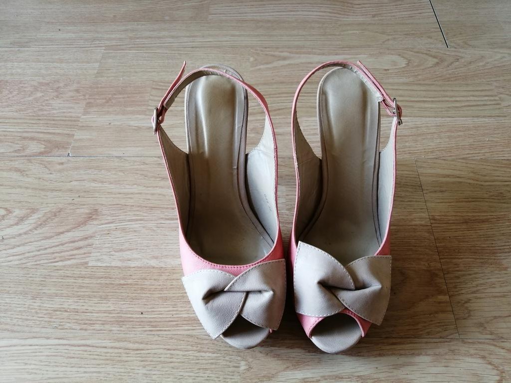 Sandały na obcasie platforma różowe roz 39