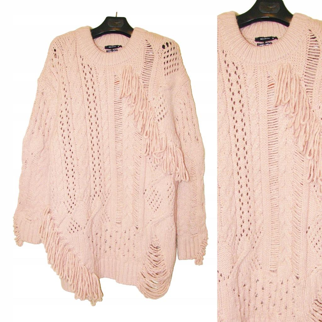 RESERVED Piękny Długi RÓŻOWY Sweter z FRĘDZLAMI S