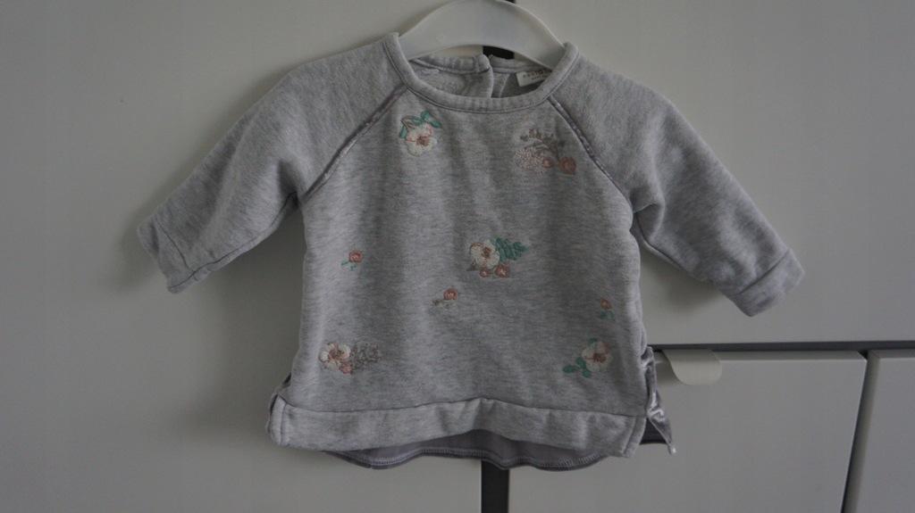 NEXT szara bluza kwiaty haft falbana 68 bawełn 3-6