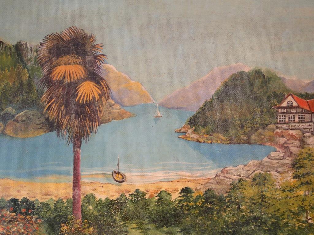 Obraz Stary pejzaż południowy na płycie malowany