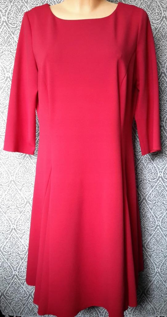 Czerwona malinowa sukienka koktajlowa L/XL 16 44