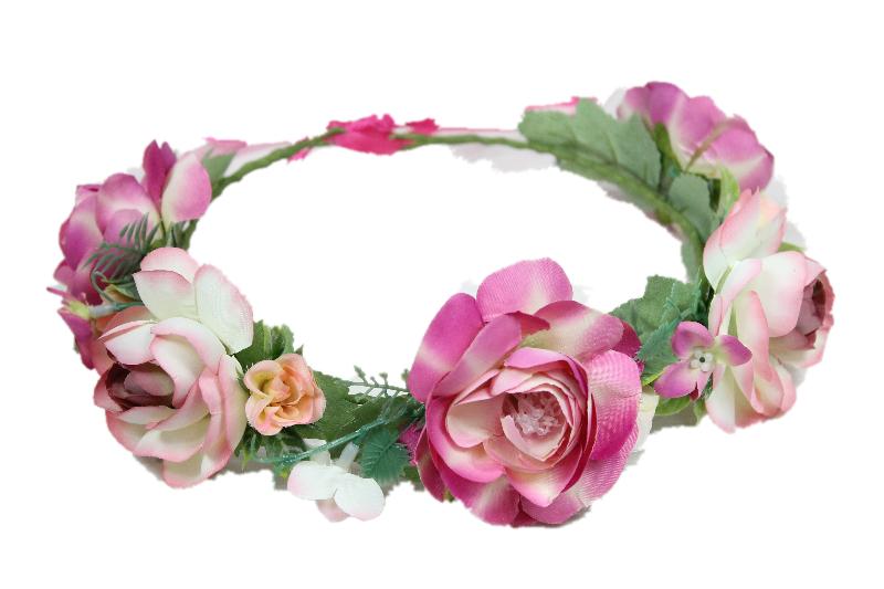 Wianek ślubny vintage róże FUKSJA ślub sesja foto