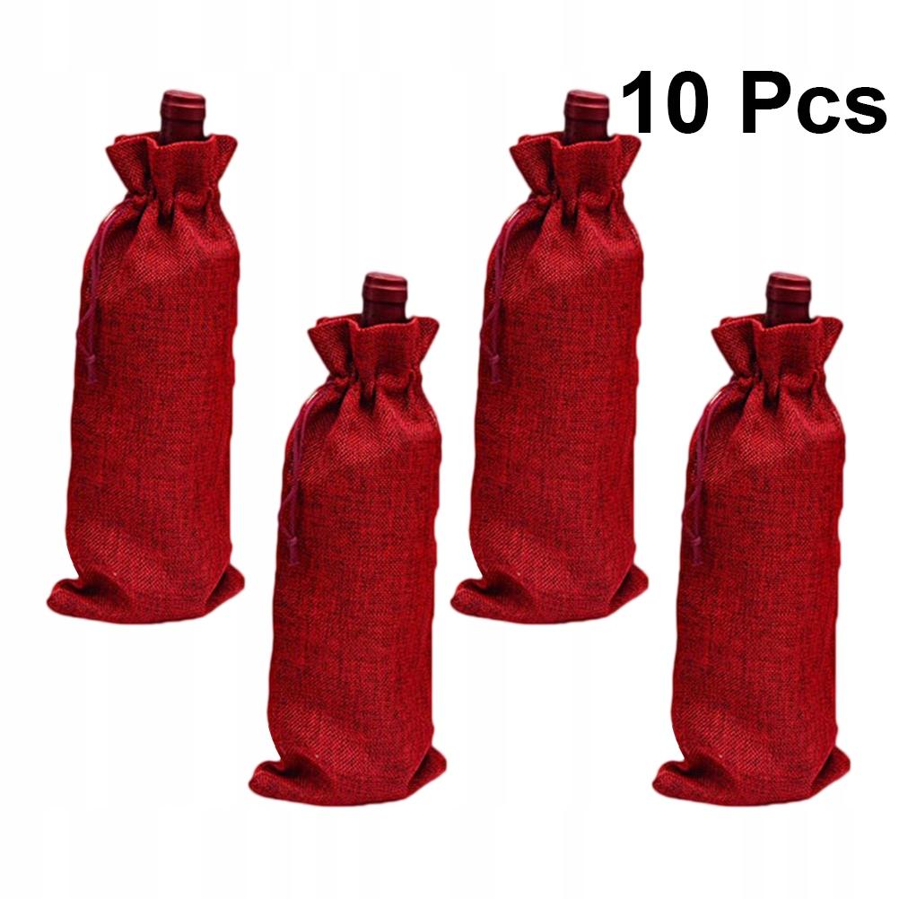 10 sztuk Imitacja jutowych worków do butelek wina