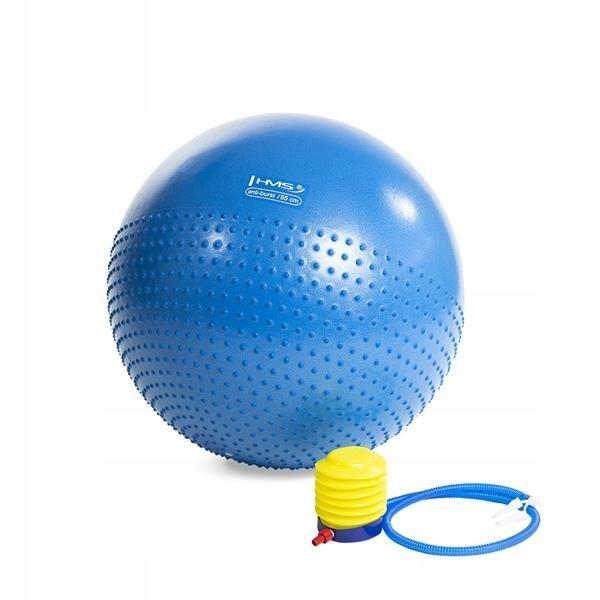 Piłka GYM BALL 55cm masująca niebieska piłka gimna