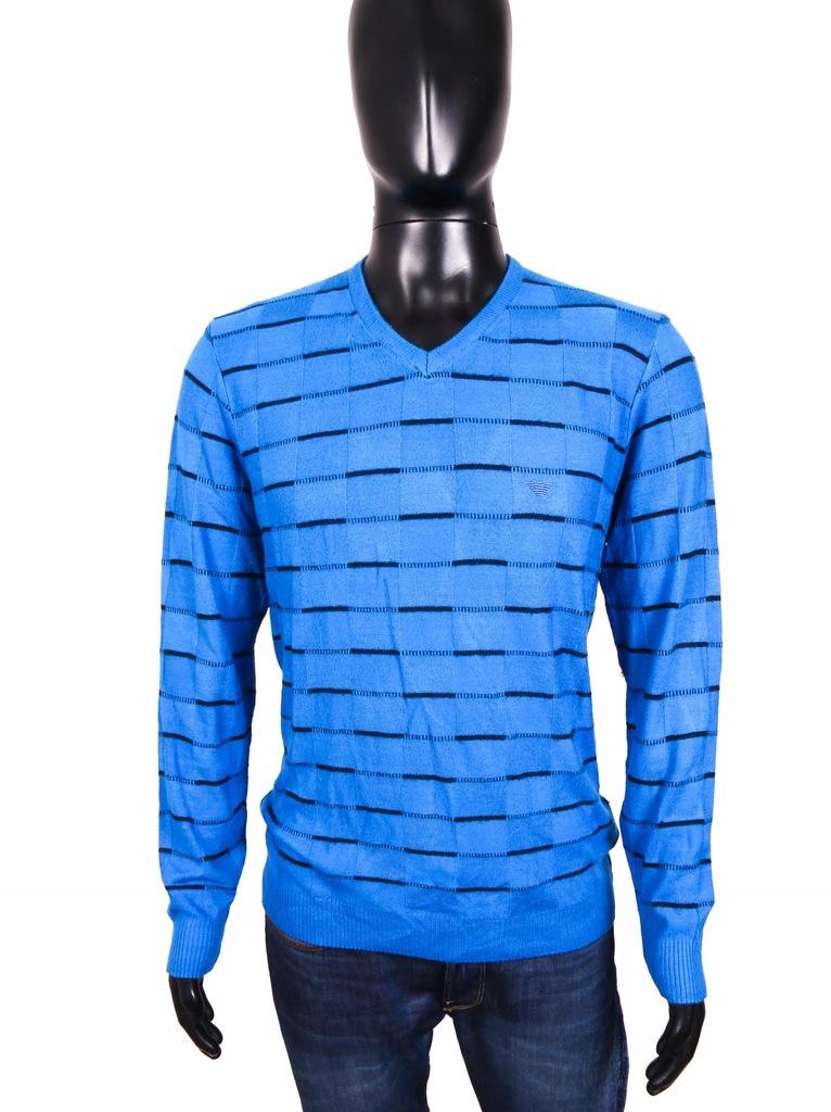 *Emporio Armani Sweter Męski Paski Blue Bawełna L
