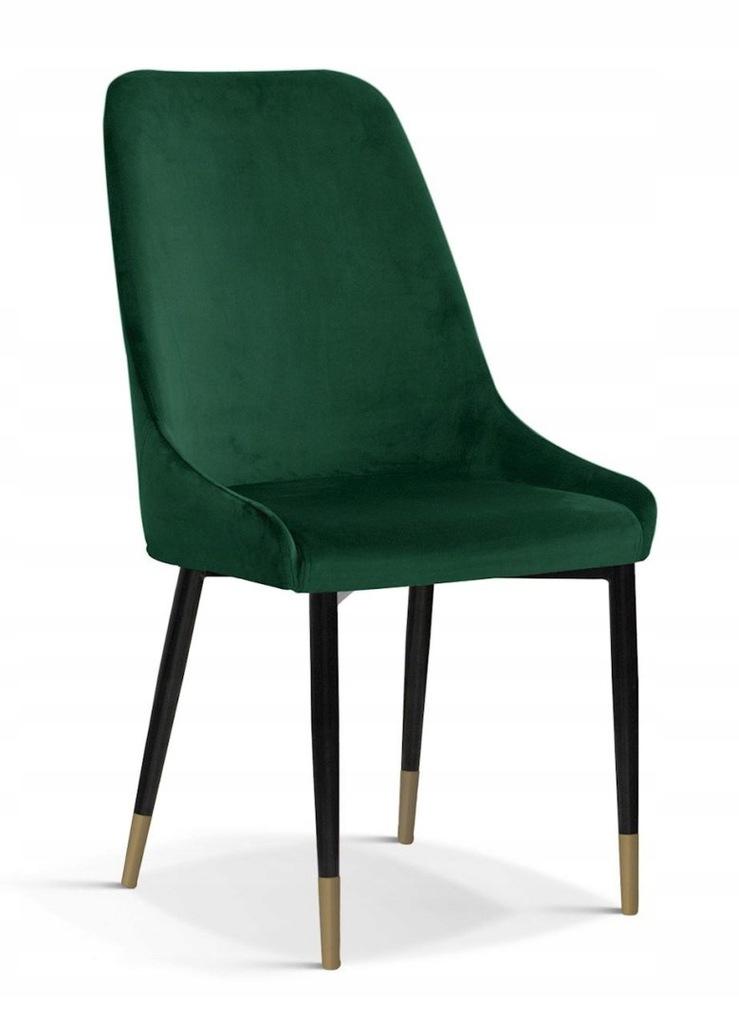 Krzesło OLIVIER M zielony/ noga czarno-złota/ BL78