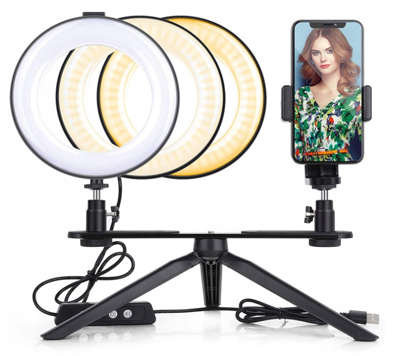 Jim's Store selfie stick statyw lampa LED makijaż