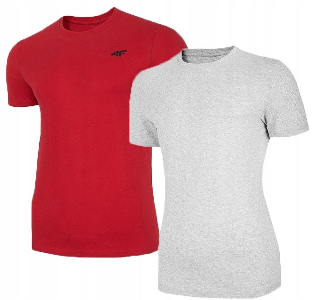 T-shirt męski 4F TSM003 2 PAK czerwony szary XL