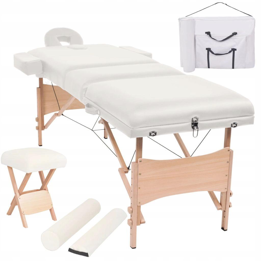Składany, trzyczęściowy stół do masażu ze stołkiem