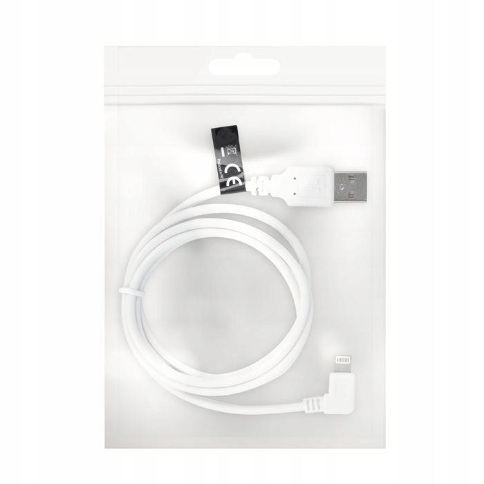 Kabel USB do iPhone 8-PIN kątowy biały woreczek 1m