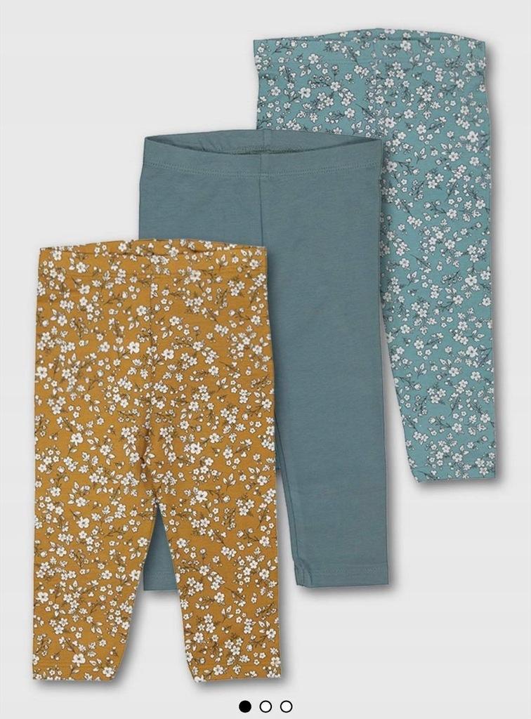 Spodnie leginsy getry 3pak 9-12 m-cy 80 TU