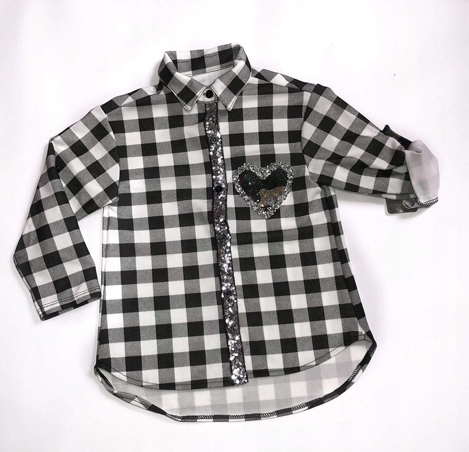 Koszula krata biała cekiny dla dziewczynki 104/110