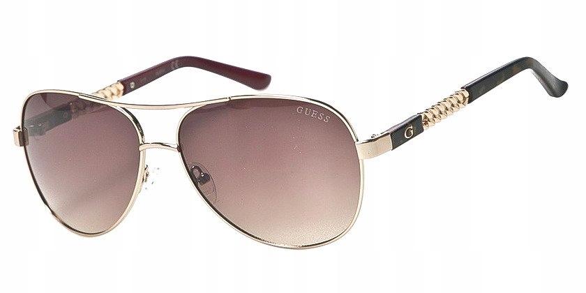 Okulary GUESS GF6006 oryginalne pilotki złote