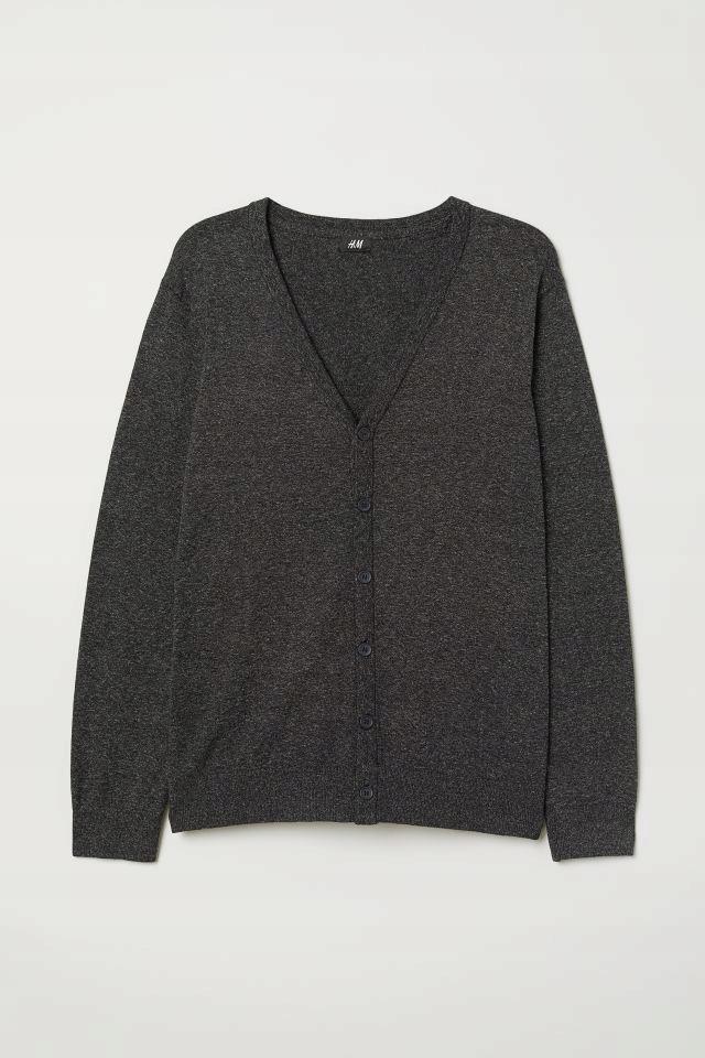 H&M kardigan sweter czarny melanż R M