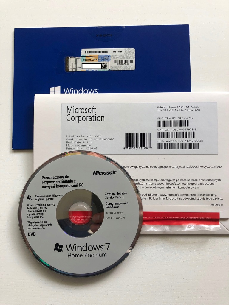 Windows 7 HOME PREMIUM SP1 x64 NAKLEJKA KOMPLET CD
