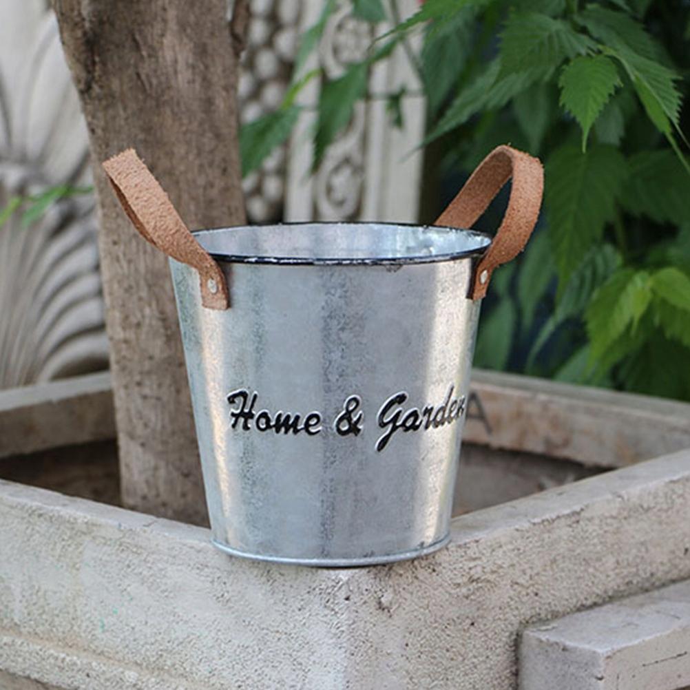 3pcs Flower Bucket Retro Iron Bucket Flower Pot Va