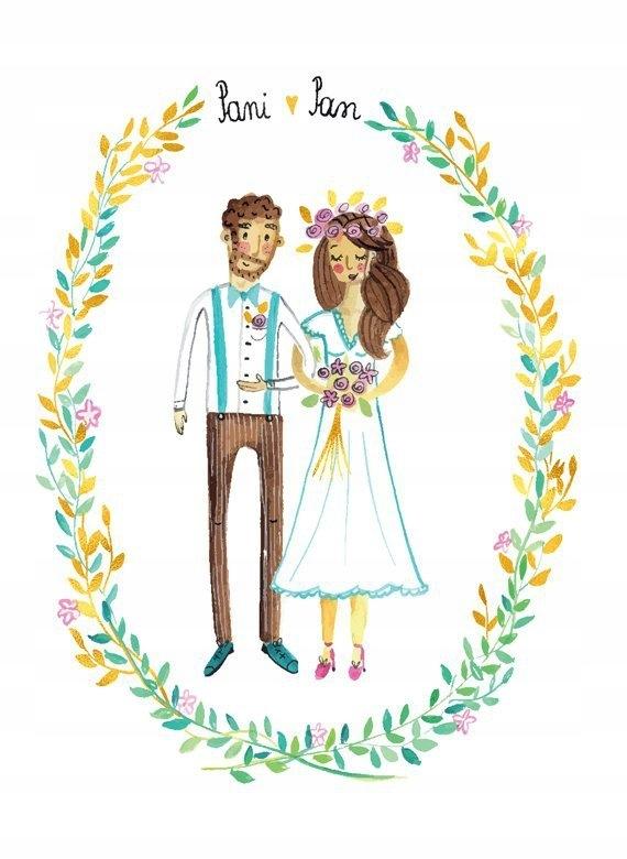 Karnet ślub młoda para