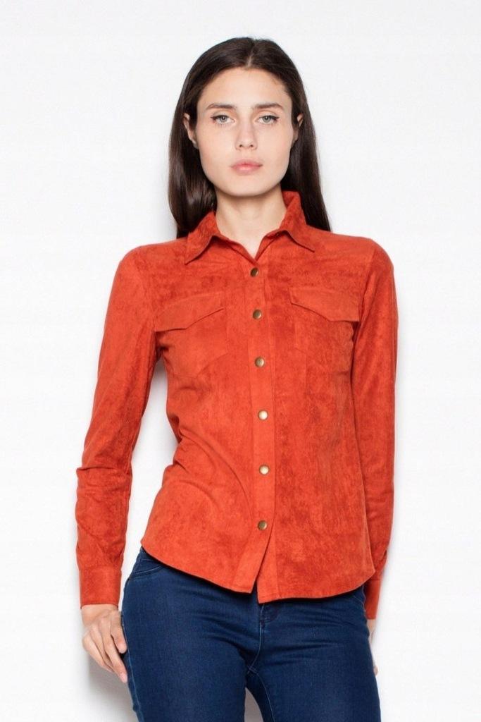 Klasyczna koszula damska w plamki ruda Sklep Internetowy Online