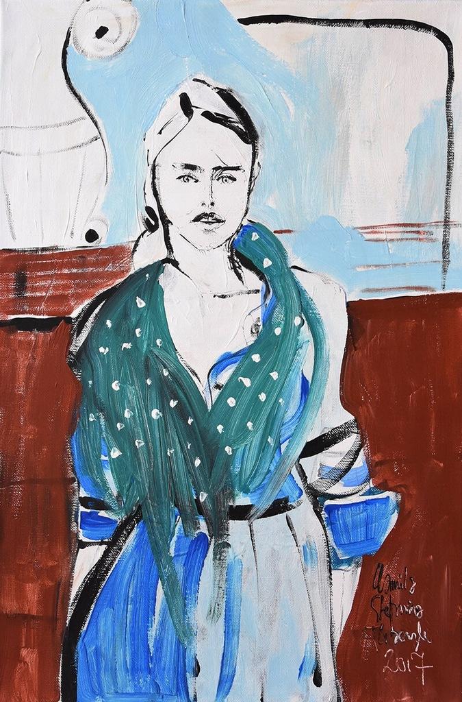 Obraz akryl portret kobieta malarstwo Florencja