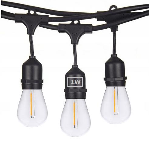 Girlanda Ogrodowa 25m +żarówki LED 1W E27 ⌀4,5cm