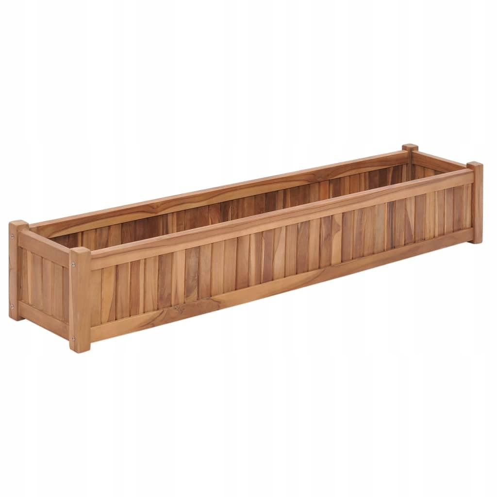 Podwyższona donica 150x30x25 cm, lite drewno tekow
