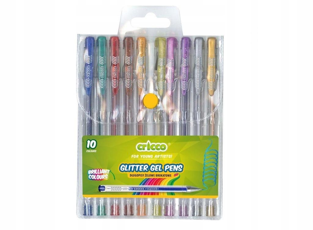 Długopisy żelowe brokatowe 10 kolorów CRICCO Cric