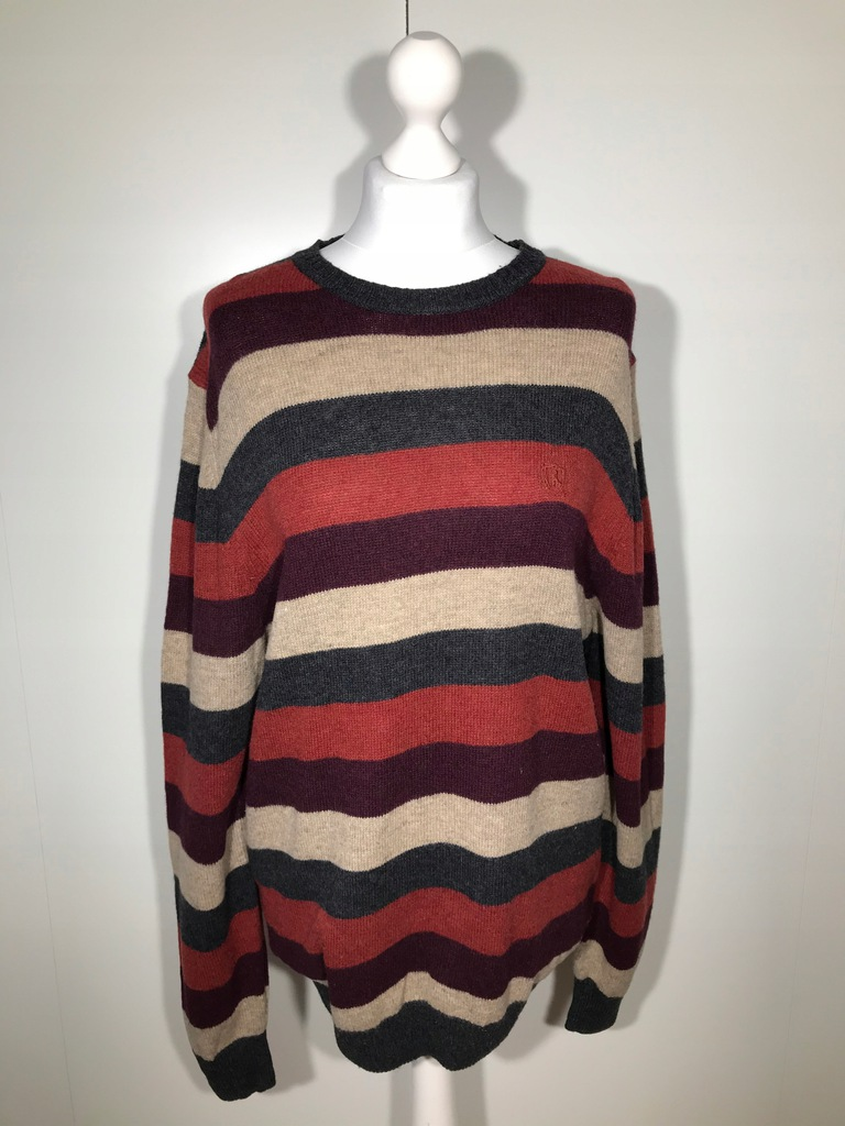 Sweter męski A.W. DUNMORE L 52 paski wełna lamy
