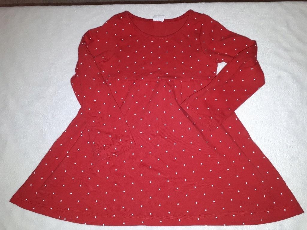 Sukienka H&M 92 czerwona w kropeczki