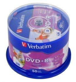 PŁYTY DVD+R 4,7GB 16X VERBATIM CAKE 50 JAKOŚĆ FVAT