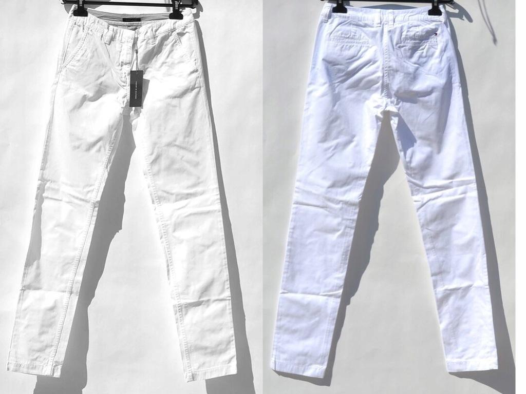 Tommy Hilfiger - Białe Spodnie Rurki 32