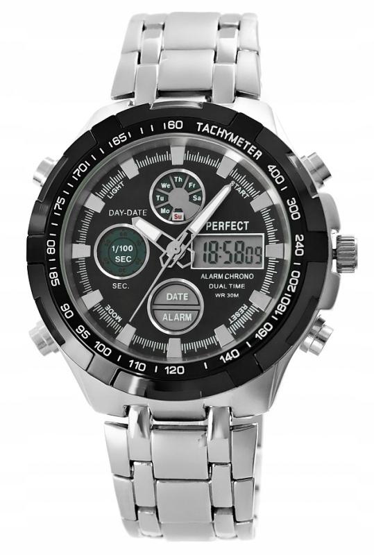 Zegarek Męski Perfect A816-1 Dual Time Iluminacja