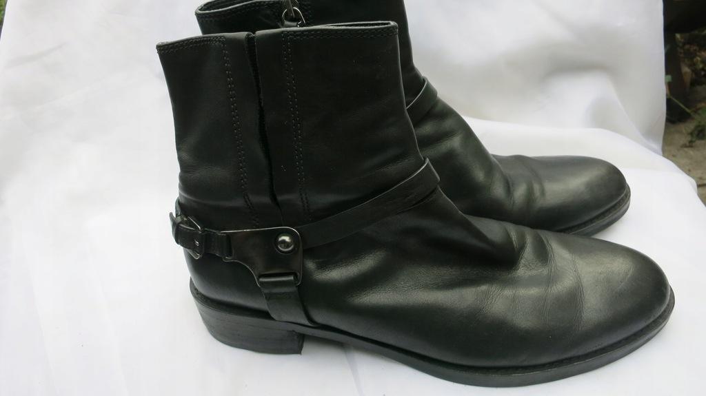Czarne sztyblety botki wsuwane Nessi 592O R.41