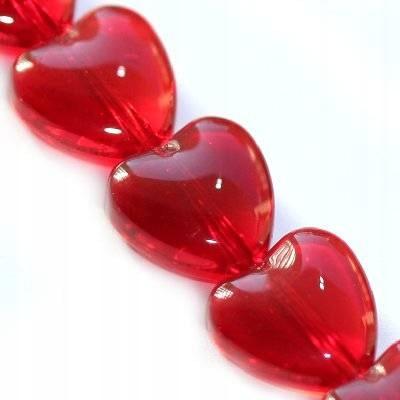 Koraliki szklane serce czerwone 10 mm 5 szt