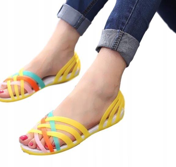 Damskie sandały kolorowe paski płaskie wygodne 37